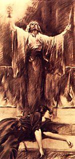 Aquí la hechicera Kundry, redimida de una vida dedicada al mal, muere, mientras Parsifal rescata al Santo Grial de su santuario. También sostiene la Santa Lanza que, tras haber servido al mal en manos del mago Klingsor, se convierte en instrumento del bien.